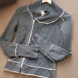 Diesel grey assymetrical zip up sweatshirt/ jacket